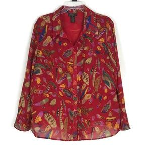 Milano Womens Shirt Size 2X Red Feathers Long Slee